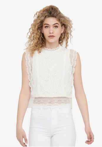ONLY 白色 Karo 無袖蕾絲上衣 5D28BAA20BBBABGS_1