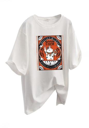 Twenty Eight Shoes white VANSA Fashionable Loose Short Sleeve T-Shirt VCW-Ts5601 126DBAA1249EFFGS_1
