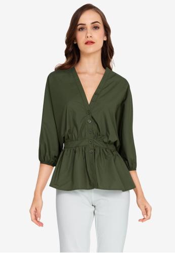 ZALORA WORK green Dolman Sleeves Peplum Top 6727AAAB9298BEGS_1