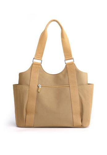 Lara beige Women's Water-proof Nylon Zipper Tote Bag - Khaki E6B64AC063ACF9GS_1