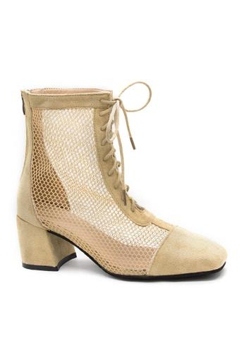 Twenty Eight Shoes beige Sexy Mesh Mid Boots VB386 943F7SH0F60B2EGS_1