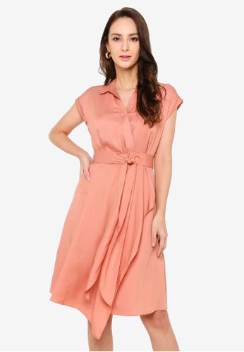 Hopeshow orange Short Sleeves Asymmetrical Hem Slim Waist Knee Length Dress A5D06AA305E330GS_1