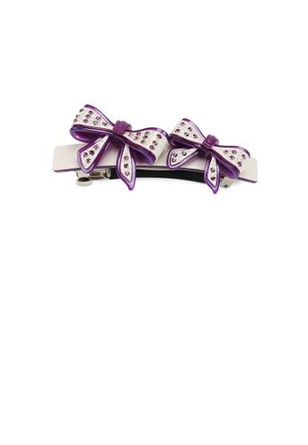 Glamorousky purple Fashion Temperament Purple Ribbon Hair Slide with Cubic Zirconia 8FC9DACDA60A3DGS_1