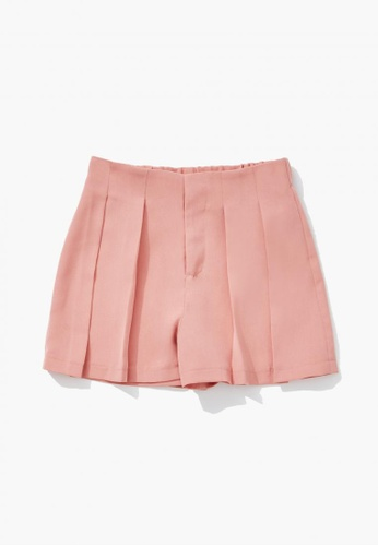 FOREVER 21 pink Pleated Shorts C493EKAF232601GS_1