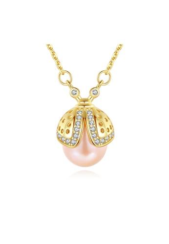SUNRAIS gold Premium color stone golden ladybug necklace B70B0ACD6592F0GS_1