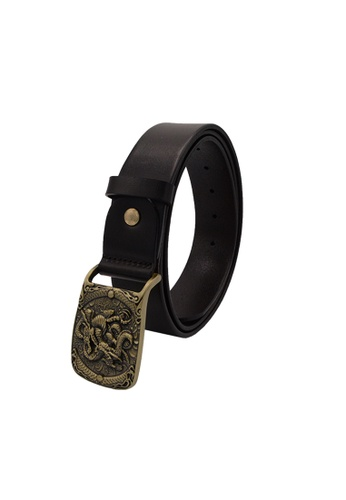 EXTREME brown Extreme Genuine Leather Plaque Buckle Belt 2665BACA59A08CGS_1