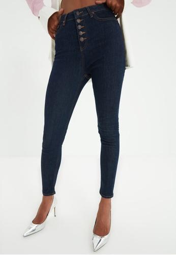 Trendyol navy Navy High Waist Skinny Jeans 19283AA17F44FAGS_1