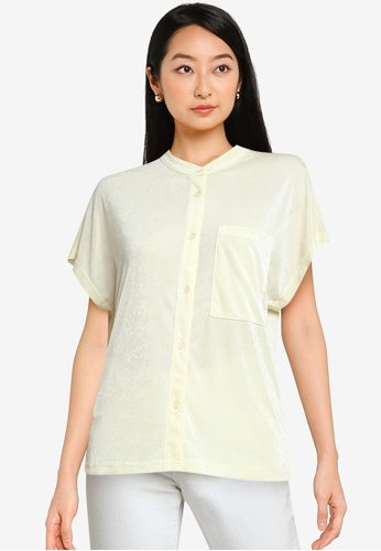 ZALORA BASICS beige Stand Collar Shirt 0D9B8AA39C9804GS_1