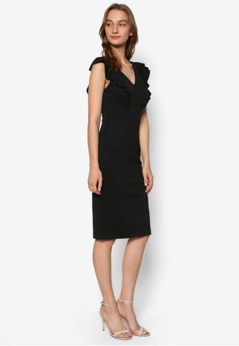 荷葉飾肩飾V 領鉛筆連身zalora 男鞋 評價裙, 服飾, 洋裝