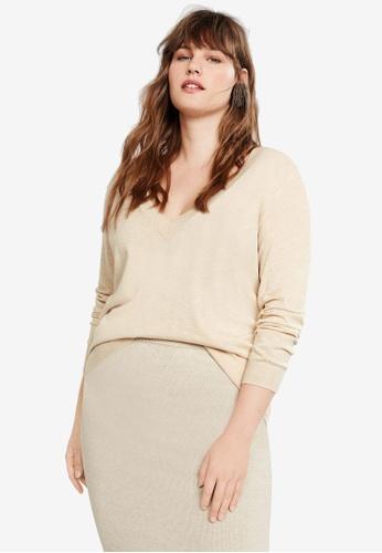 Violeta by MANGO 褐色 Plus Size V-Neck Sweater 3ED34AA3372EBFGS_1