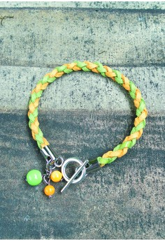 Yellow and Green Braided Suede Bracelet