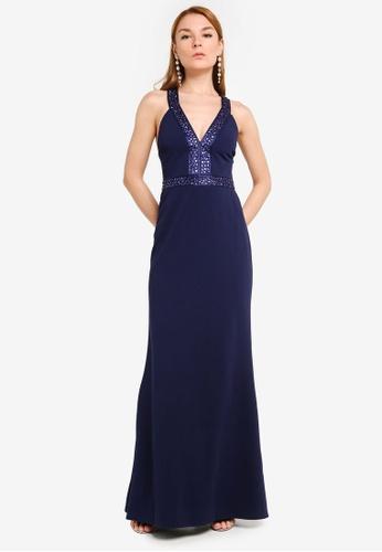 Goddiva navy Diamante Cross Back Maxi Dress 097A9AA7A48BA8GS_1