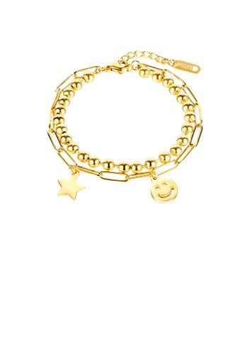 Glamorousky 銀色 時尚個性鍍金色星星笑臉表情316L鋼圓珠雙層手鏈 0593DAC9E0A80EGS_1
