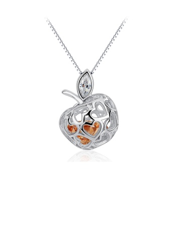 Glamorousky silver 925 Sterling Silver Fashion Simple Hollow Apple Pendant with Cubic Zirconia and Necklace C719AACBF4316BGS_1