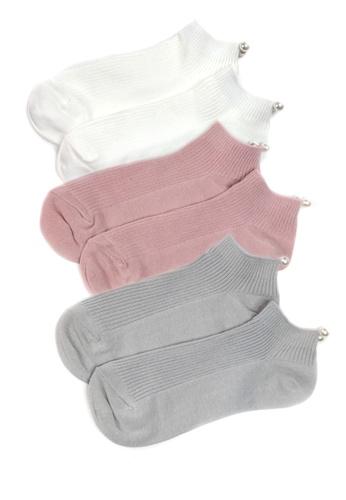 b704f6037c Shu Talk multi 3 pairs Set Ladies Socks with Pearls 59C85AA3840E55GS_1