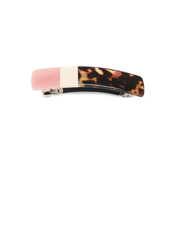 Glamorousky white and brown and pink Simple and Fashion Pink Stitching Pattern Geometric Hair Slide C3C9AAC4644A9BGS_1