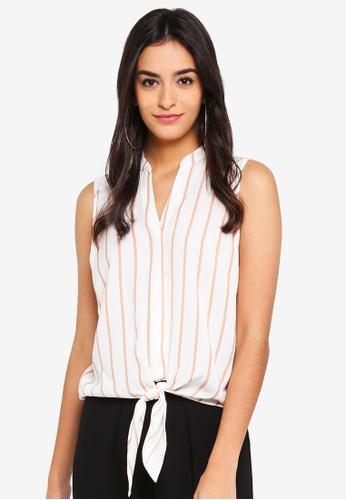 Dorothy Perkins brown Petite Stripe Tie Front Shirt BC3F2AA6611E2FGS_1