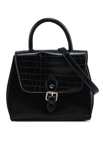 Heather black Flap Crocodile Crossbody Bag F19BEACFF891B6GS_1