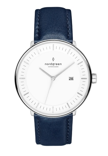 Nordgreen blue and silver Nordgreen Philosopher Silver 36 mm - Navy Blue Leather Watch 84800ACA25F7F3GS_1