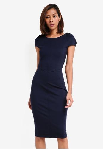 CLOSET navy Gathered Sleeve Panel Dress 06623AA04070BCGS_1