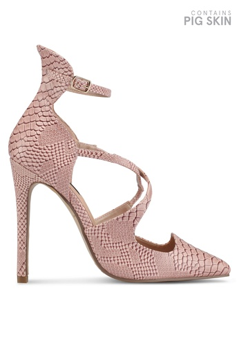 LOST INK pink Georgi Strappy Textured Court Heels 774B2SHE4C3EF0GS_1