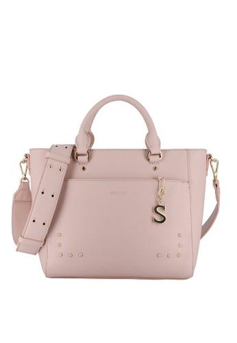 SEMBONIA pink Colori Rivets Satchel Tote Bag 5AF3DACAF9235EGS_1