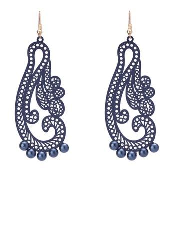 雕花串珠吊墜耳環, 飾品zalora 衣服評價配件, 耳環