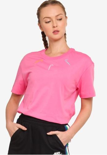 Nike red Women's Sportswear Boy Mini Swoosh 2 T-Shirt 5A51DAACB64F0CGS_1