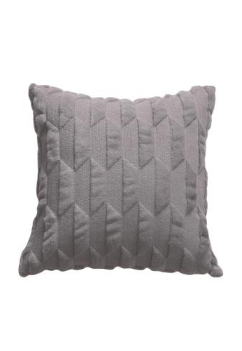 DILAS HOME grey Geometric Embossed Plush Cushion Cover ( Dark Grey) 5D8FEHLFBD918EGS_1