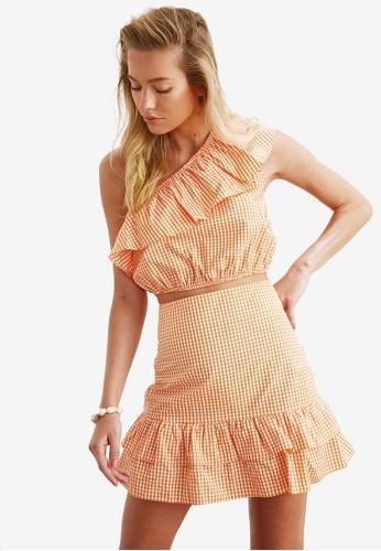 Trendyol 橘色 2-Piece 格紋上衣 & Skirt Co-Ords Set CFEF5AA3B71EB7GS_1
