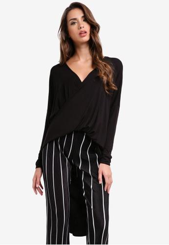 MISSGUIDED black Drape Twist Front Long Sleeve Tunic 4A489AA4E52E4CGS_1