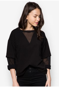 Faux Double Layer Sleeve Top