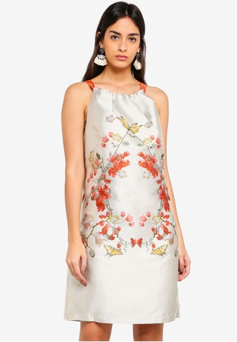 Max Studio white and multi Jaquard Dress 1B3A6AA74D8BE1GS_1