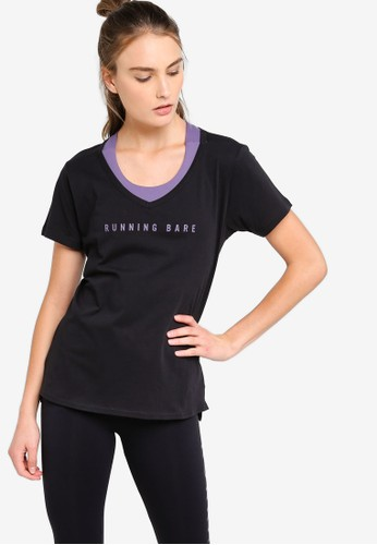 Running Bare black Tee With Hem Split C3979AA8DCD825GS_1