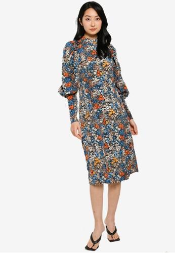 Vero Moda multi Selma Long Sleeves Midi Dress A78E2AA64A1A08GS_1