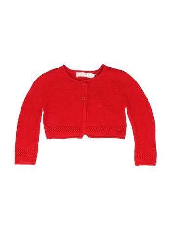 Babybol red Frill Sleeve Hem Cardigan F56E0KAD43FEE5GS_1