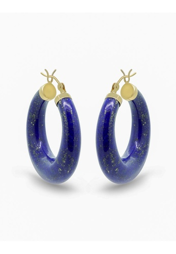 Jemocracy blue and gold and navy JEMOCRACY - Bright Ideas Earrings in Lapis Lazuli and 14k gold 734F4ACCC464BCGS_1