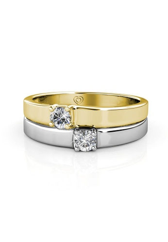 Her Jewellery silver and gold Devoted Ring - Made with premium grade crystals from Austria 34FEBAC6057132GS_1