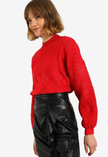 PIMKIE red High Neck Diamond Sweater 3F435AAE028CE3GS_1