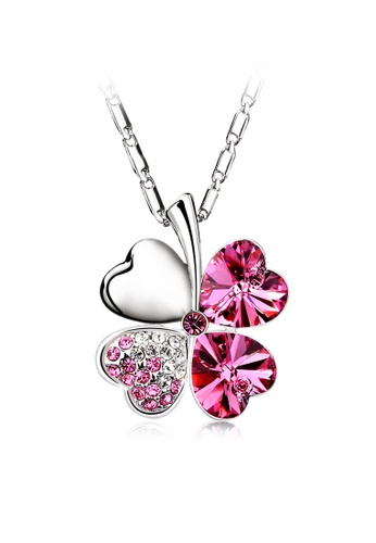 OUXI pink OUXI Four Leaf Clover Necklace (Rose) OU821AC53JHUMY_1
