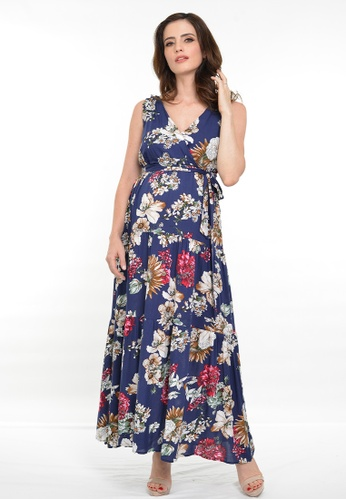 9months Maternity navy Navy Maternity Floral Tiered Maxi Dress C8A9BAA842DC5DGS_1