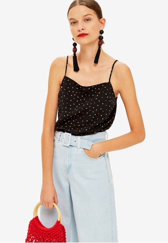 TOPSHOP black and multi Petite Spot Square Neck Cami Top 4E315AA5150AE2GS_1