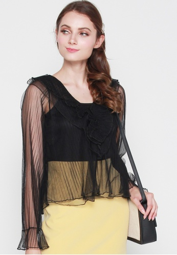 JOVET black Pleated Mesh Top 3479DAA9D6874EGS_1