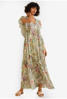 1189e05a440e Mango green and multi Flower Chiffon Dress F710CAA7F18E49GS 1