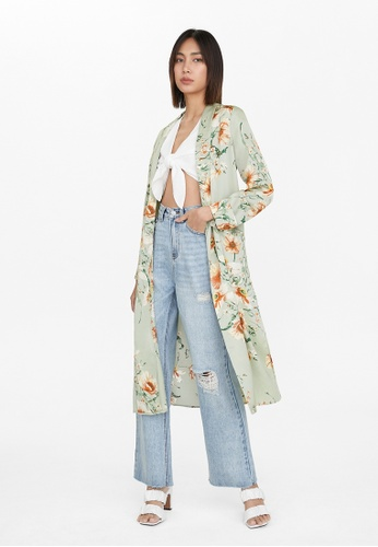 Pomelo green Floral Side Slit Robe - Green 578B5AAA7AB52FGS_1