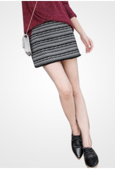 Aztec Play Fringed Skirt