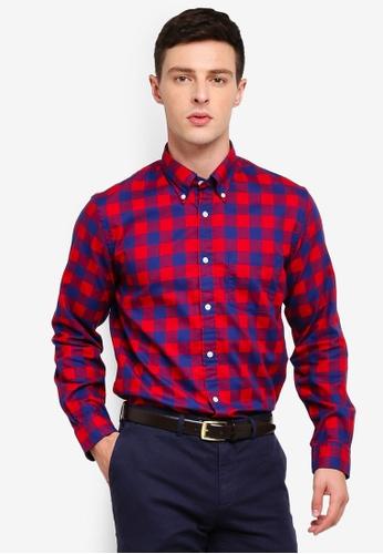 Brooks Brothers 紅色 長袖格紋襯衫 0A56EAA842F42CGS_1