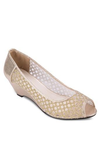 透膚zalora開箱蕾絲露趾楔形跟鞋, 女鞋, 鞋