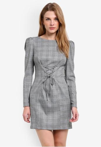 Miss Selfridge grey Checked Corset Shift Dress MI665AA0RQJ0MY_1