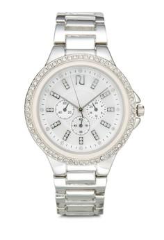 Silver Enamel Bezel Watch